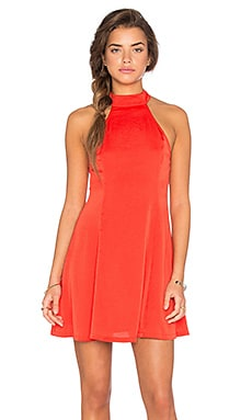 Lucca Couture Washed Satin Mock Neck Fit N Flare Dress in Poppy