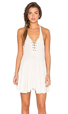 Lucca Couture Lace Up Ribbed Flare Tank Dress in Off White
