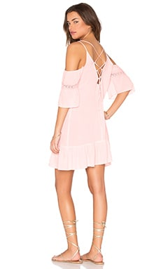 Cold Shoulder Lace Up Back Gauze Dress in Pink