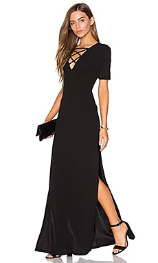 High Slits Lace-Up Maxi Dress en Noir