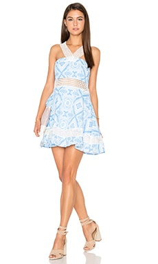 Lucca Couture Halter Neck Swing Dress in Wave Print