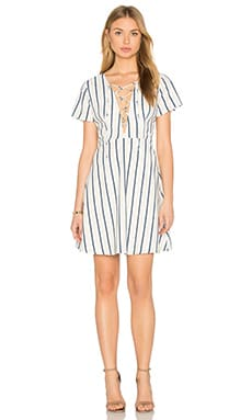Lace-Up Dress in White, Navy & Mango Stripe
