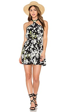 Sophie Dress en Black Satin Floral