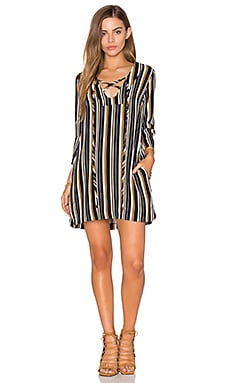 Lace Up Bell Sleeved Shift Dress in Navy White & Mango Stripe