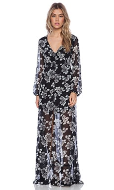 Lucca Couture Sheer Maxi Dress in Black Floral