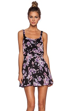 Lucca Couture Mini Sleeveless Dress in Black & Lavender Floral