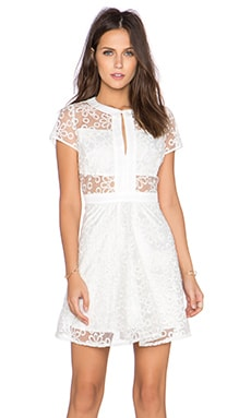 Lucca Couture Sheer Panel Dress in White