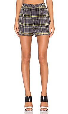 Lucca Couture Plaid Short in Grey Plaid