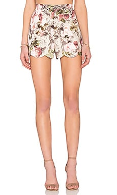 Lucca Couture Scallop Hem Short in Grey Mauve Floral