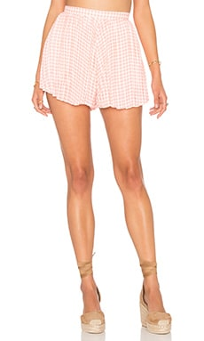 Lucca Couture Pleated Short in Tea Rose Gingham Plaid