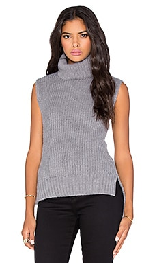 Lucca Couture Turtleneck Sweater Tank in Grey