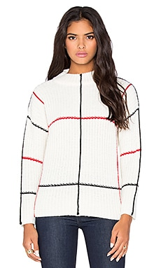 Lucca Couture High Neck Sweater in Ivory Grid