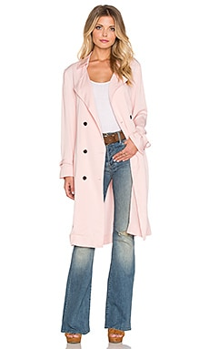 Lucca Couture Soft Cupro Trench Coat in Pink