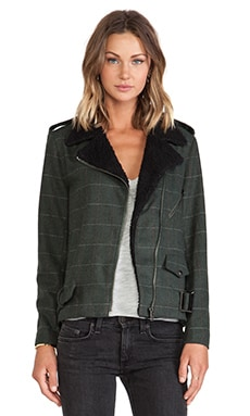 Lucca Couture Moto Jacket in Forest & Black