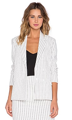Lucca Couture Pinstripe Blazer in White & Black