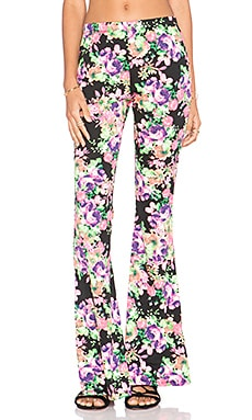 Lucca Couture Floral Bell Bottom Pant in Black Floral