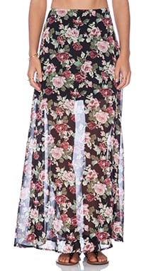 Lucca Couture Floral Maxi Skirt in Black Rose