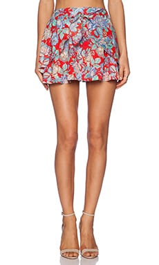 Lucca Couture High Waisted Mini Skirt in Red Sketch
