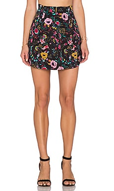 Lucca Couture Floral Mini Skirt in Black Multi Floral