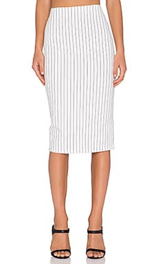 Lucca Couture Pinstripe Pencil Skirt in White & Black