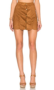 Lucca Couture Suede Skirt in Camel