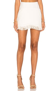 Lucca Couture Short Fringed Skirt in White