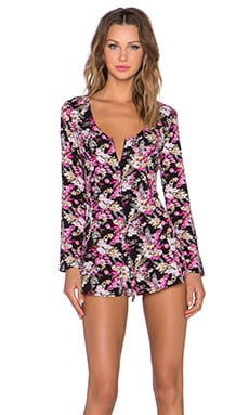 Lucca Couture Back Tie Romper in Black Daisy