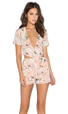 Lucca Couture x REVOLVE Deep V Open Back Romper in Peach Print