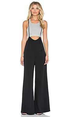 Lucca Couture Wide-Leg Suspender Jumpsuit in Black