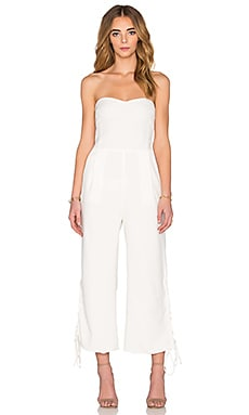 Lucca Couture Strapless Lace Up Vents Cropped Jumpsuit in Off White