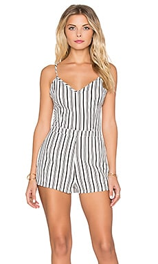 Lucca Couture Striped Fitted Romper in White & Black Stripes