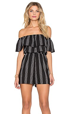 Lucca Couture Striped Off Shoulder Romper in Black & White Stripes