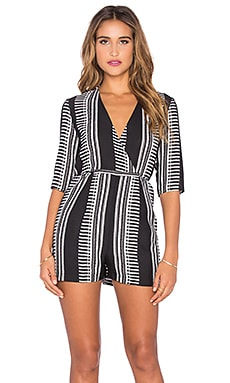 Lucca Couture Tie Back Surplice Romper in Black & White Print