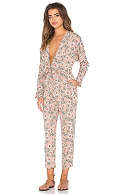 Lucca Couture Front Tie Long Sleeve Pantsuit in Beige & Mint Floral