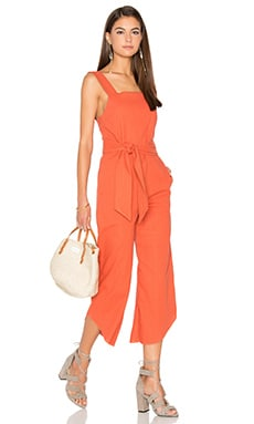 Lucca Couture Square Neck Belted Cropped Jumpsuit in Clay