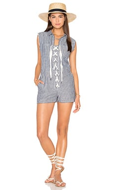 Lucca Couture Lace-Up Cut-Off Romper in Denim Stripes