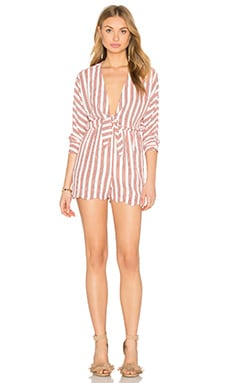 Front Knot Playsuit in White & Lipstick Stripe