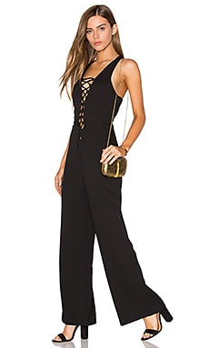 Lucca Couture Lace Up Jumpsuit in Black