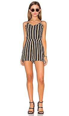 Fitted Romper in Navy, White, & Mango Stripe