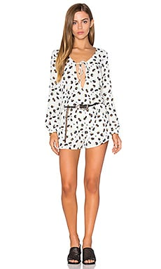 Lucca Couture Front Tie Romper in White & Navy Floral