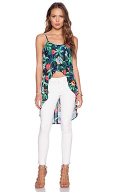 Lucca Couture Floral Tropic Hi-Low Tank in Black Tropic