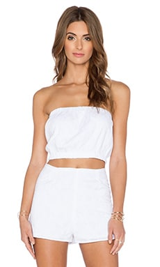 Lucca Couture Tube Crop Top in White