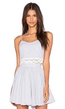 Lucca Couture Lace Crop Top in White & Black Pinstripe