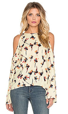 Cold Shoulder Flare Sleeve Top in Cream Floral