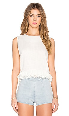 Lucca Couture Linen Shell Fringe Top in Off White