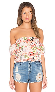 Printed Off Shoulder Crop Top in Peach & Poppy Floral