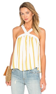 Lucca Couture Halter Tank in Chartreuse Double Stripes