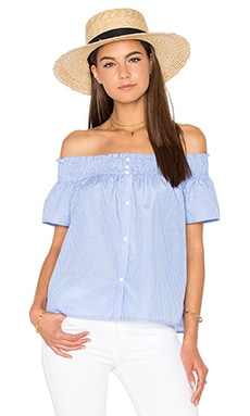 Lucca Couture Off Shoulder Top in Powder Blue Stripes