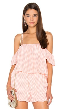Lucca Couture Pleated Top in Tea Rose Gingham Plaid