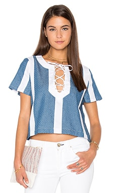 Lucca Couture Textured Denim Combo Lace-Up Top in White & Denim